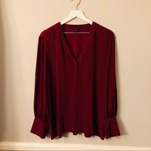 Ann Taylor Burgundy Long Sleeve Blouse